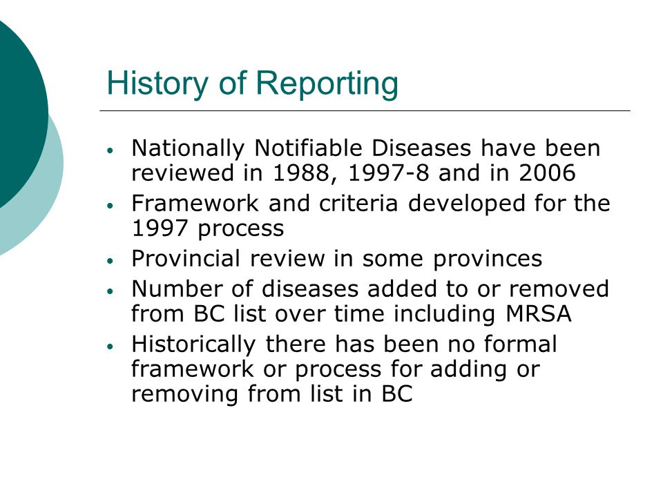History of Reporting Nationally Notifiable Diseases have been reviewed in 1988, 1997-8 and in 2006.