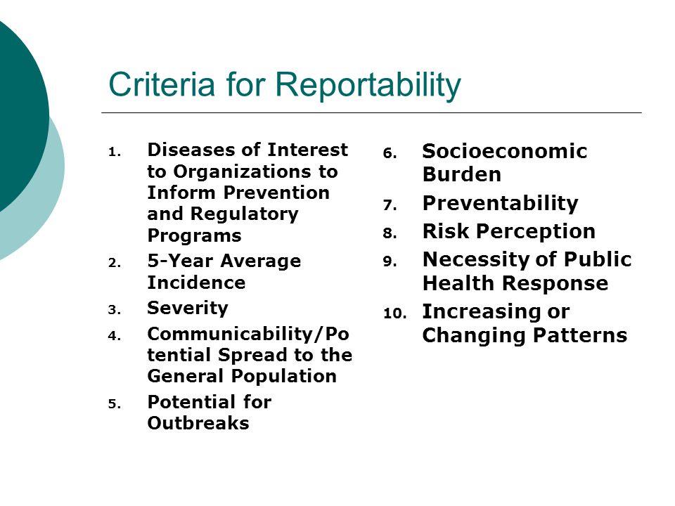 Criteria for Reportability