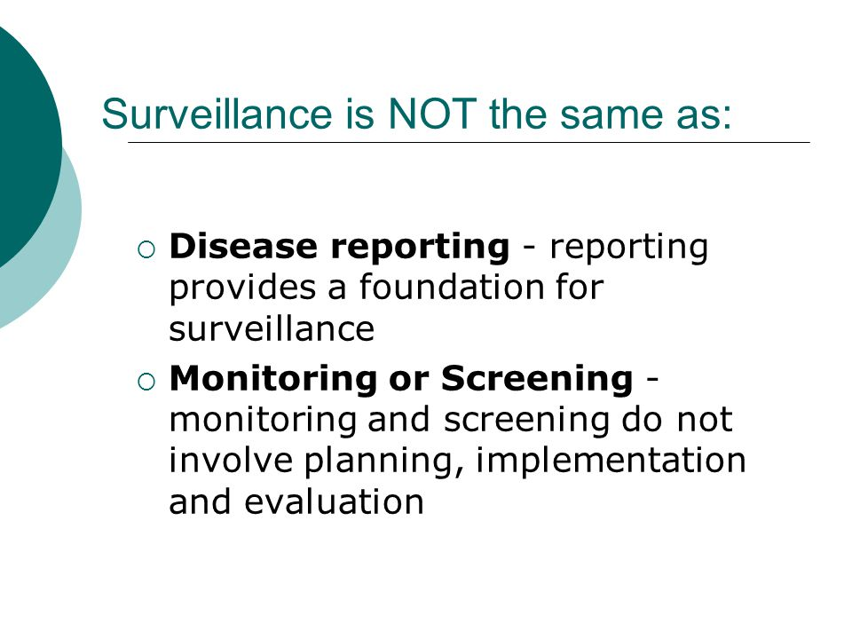 Surveillance is NOT the same as: