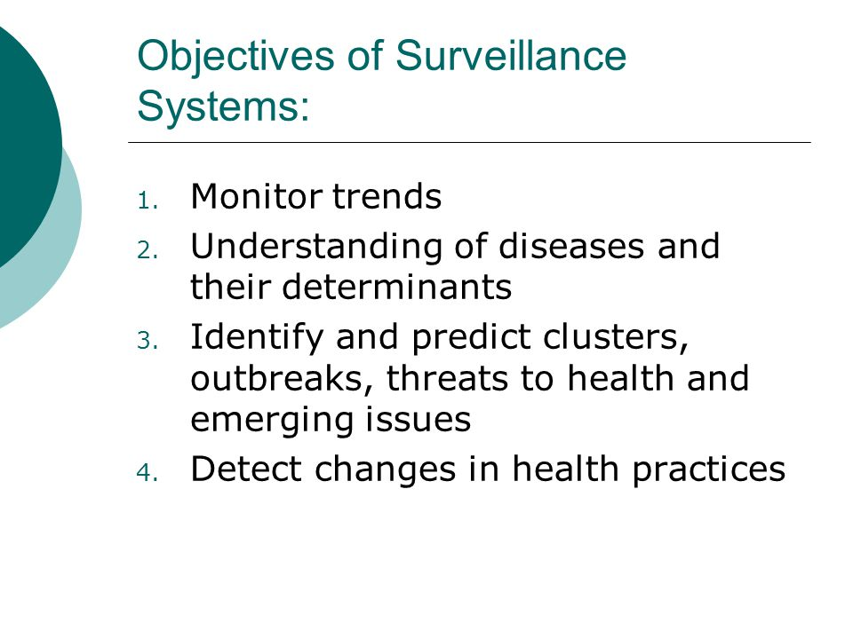 Objectives of Surveillance Systems: