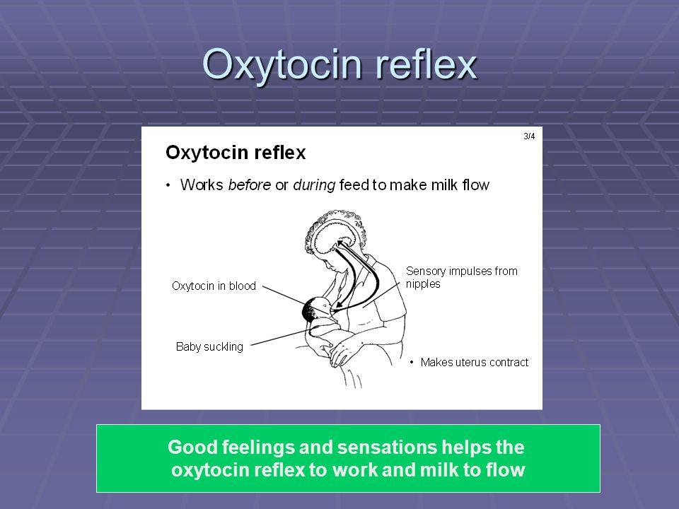 Oxytocin reflex Good feelings and sensations helps the