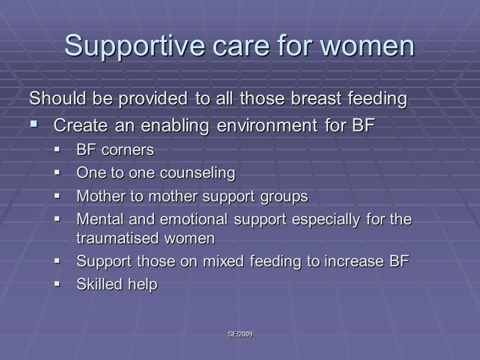 Supportive care for women