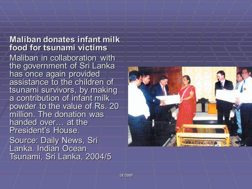 Maliban donates infant milk food for tsunami victims