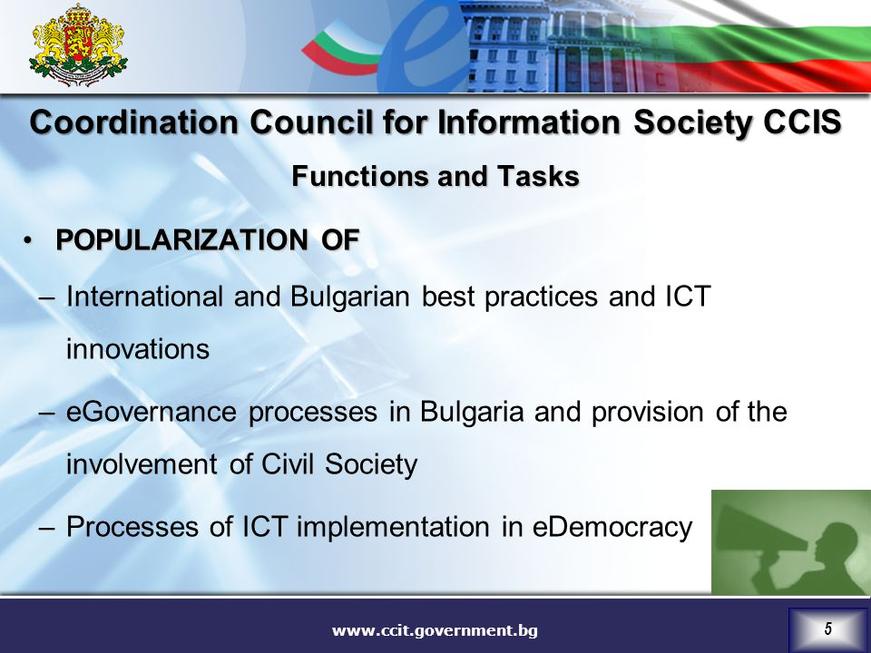 Coordination Council for Information Society CCIS Functions and Tasks