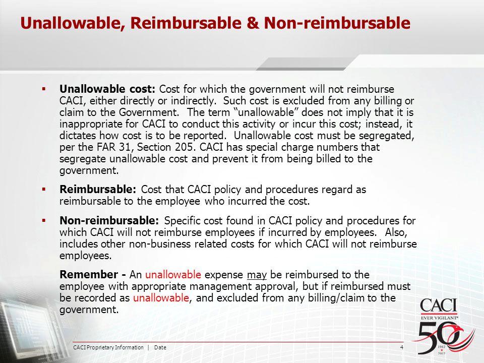 Unallowable, Reimbursable & Non-reimbursable