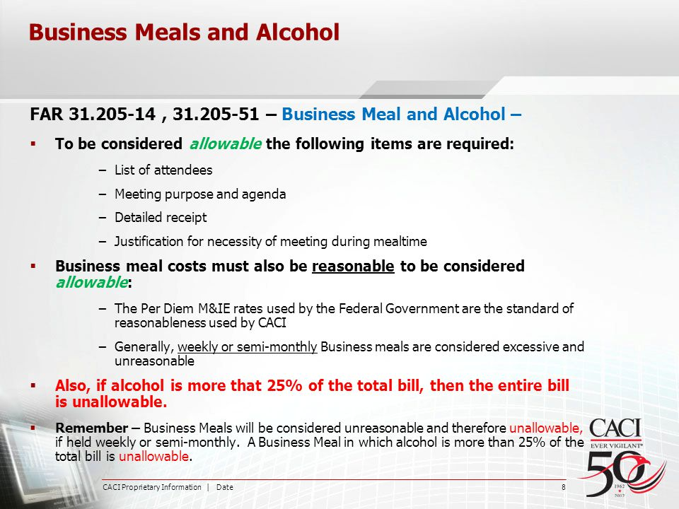 Business Meals and Alcohol