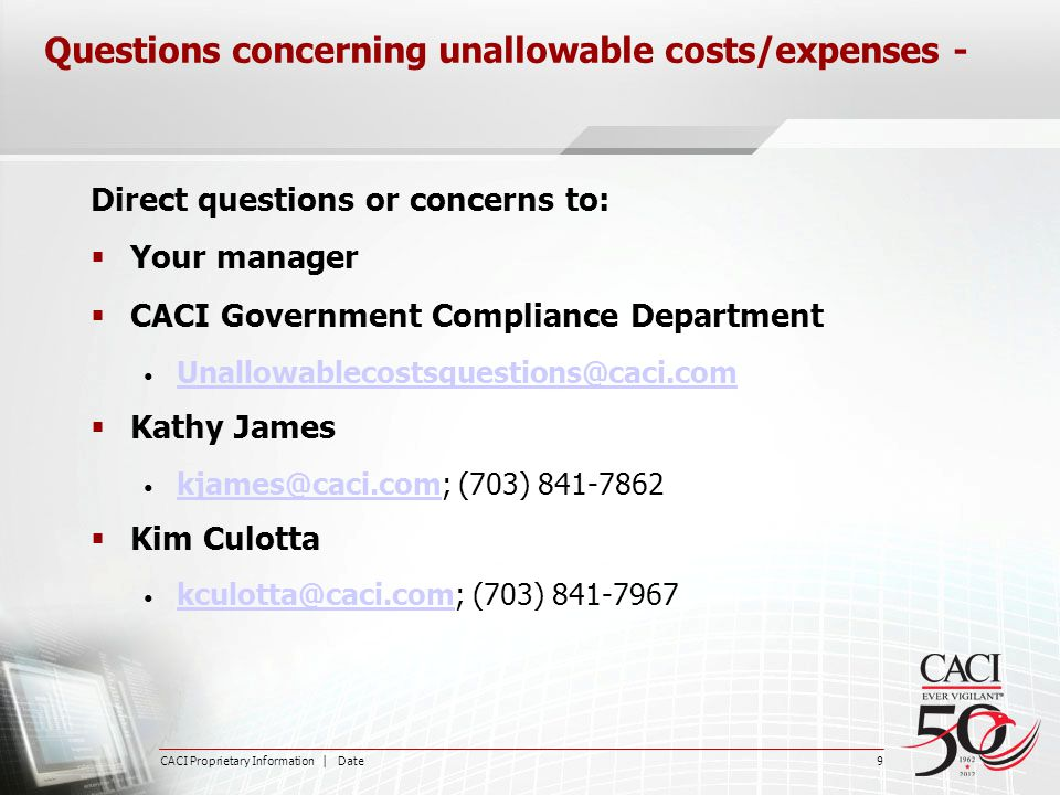 Questions concerning unallowable costs/expenses -