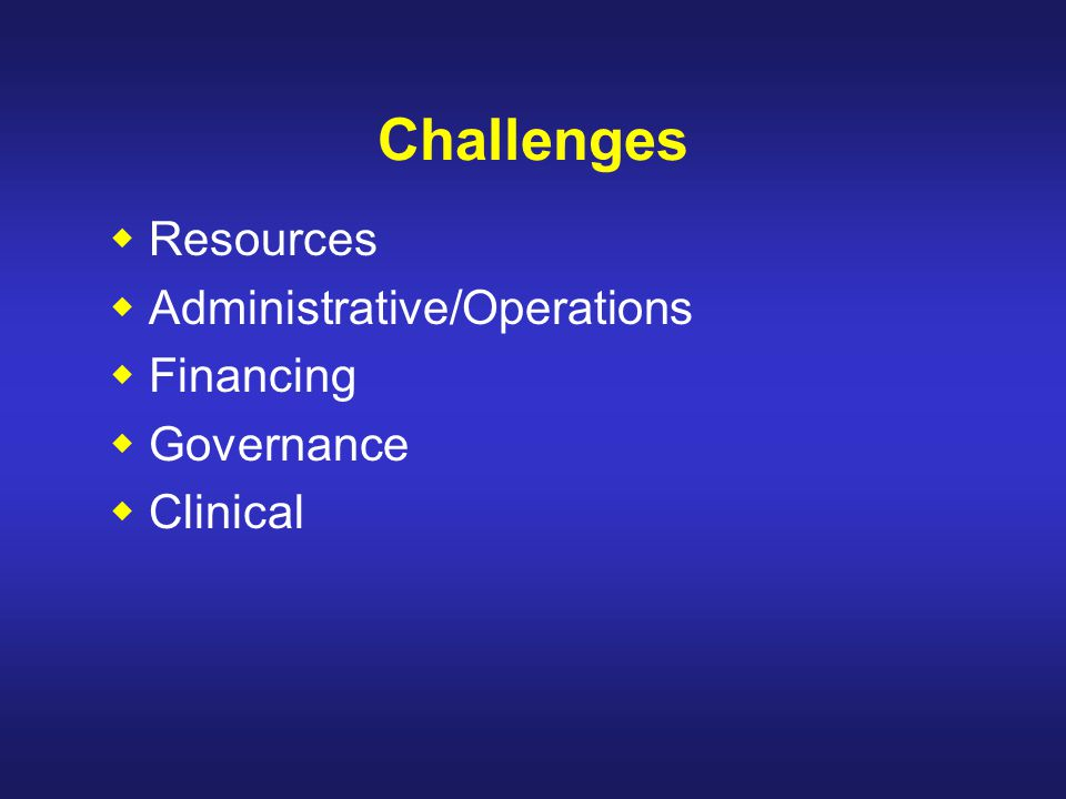 Challenges Resources Administrative/Operations Financing Governance