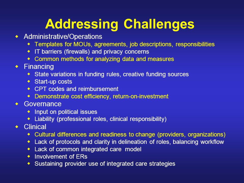 Addressing Challenges