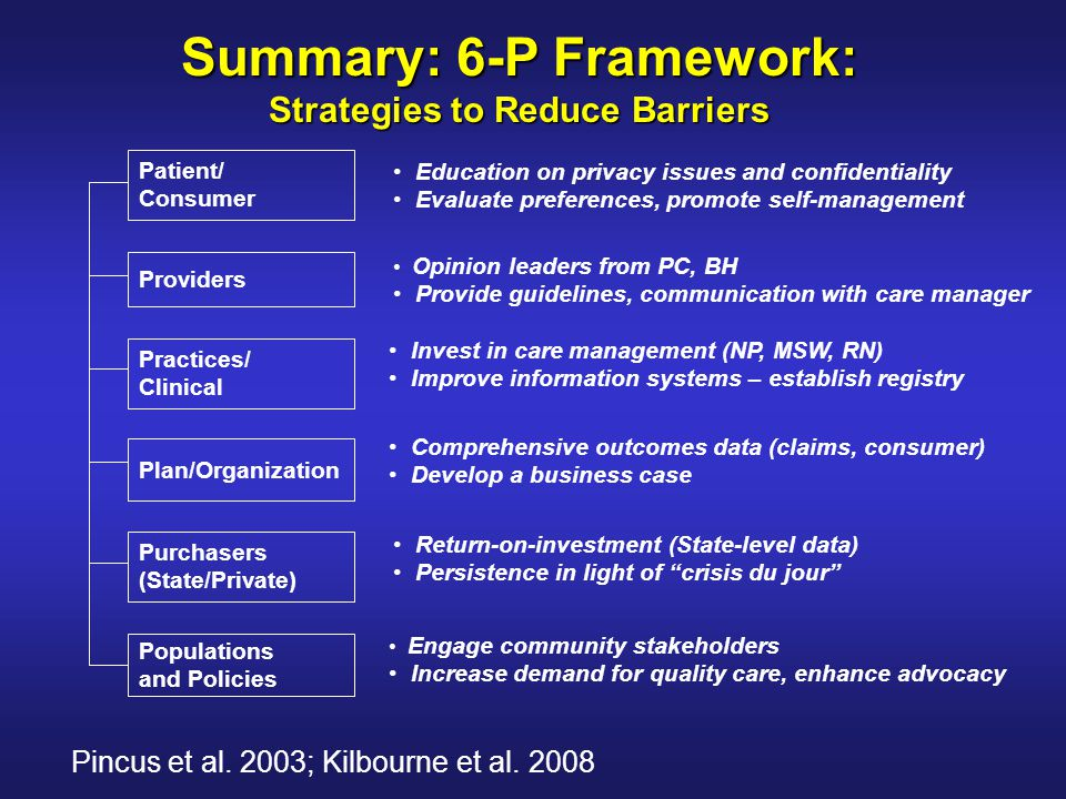 Summary: 6-P Framework: Strategies to Reduce Barriers