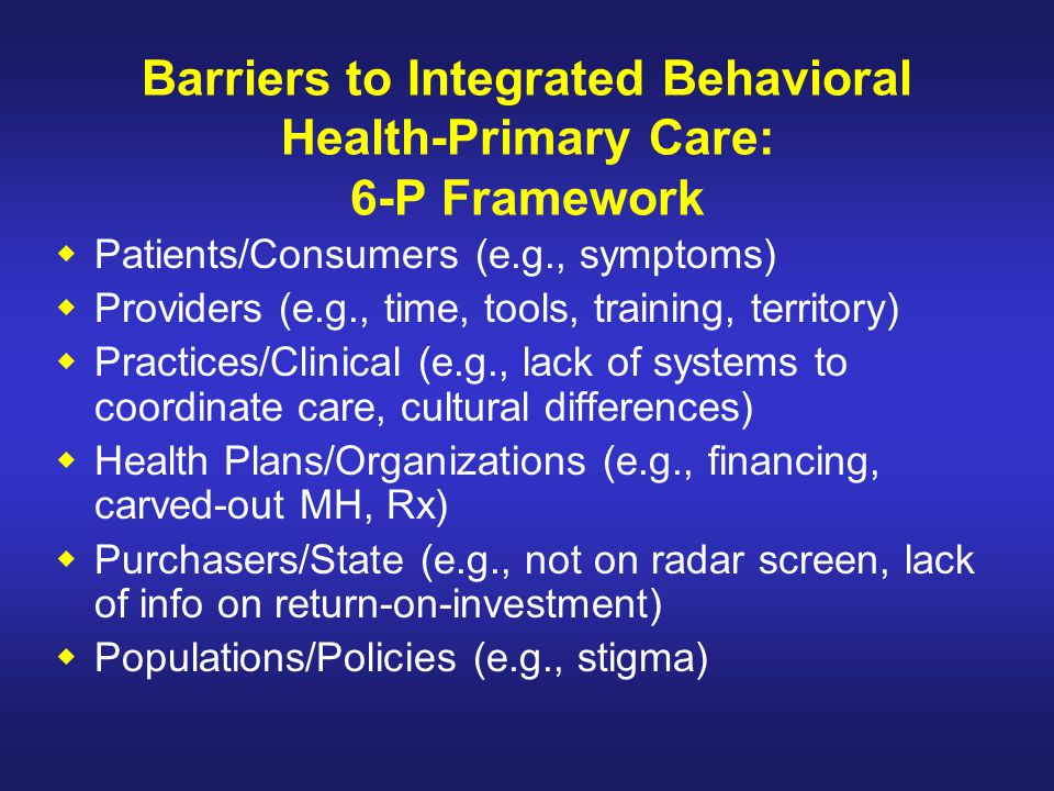 Barriers to Integrated Behavioral Health-Primary Care: 6-P Framework