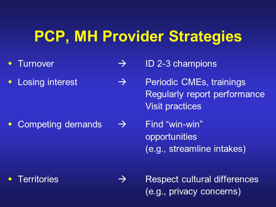 PCP, MH Provider Strategies