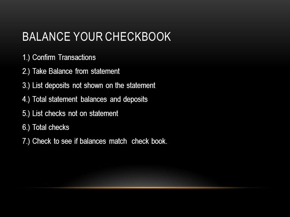 Balance your checkbook