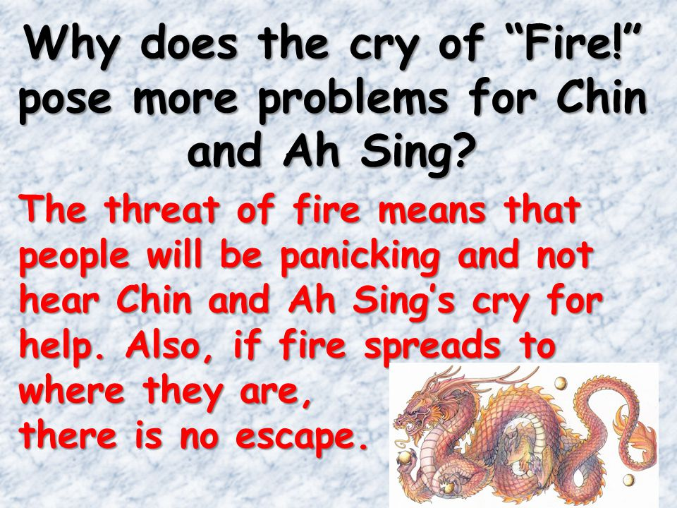 Why does the cry of Fire! pose more problems for Chin and Ah Sing