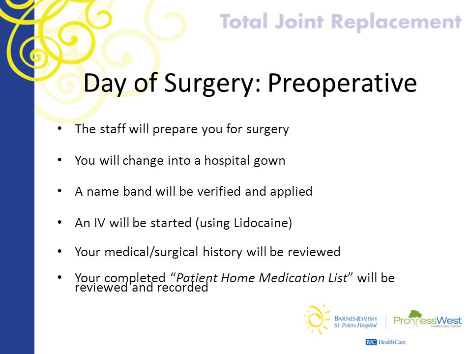 Day of Surgery: Preoperative