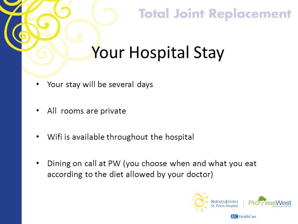 Your Hospital Stay Your stay will be several days