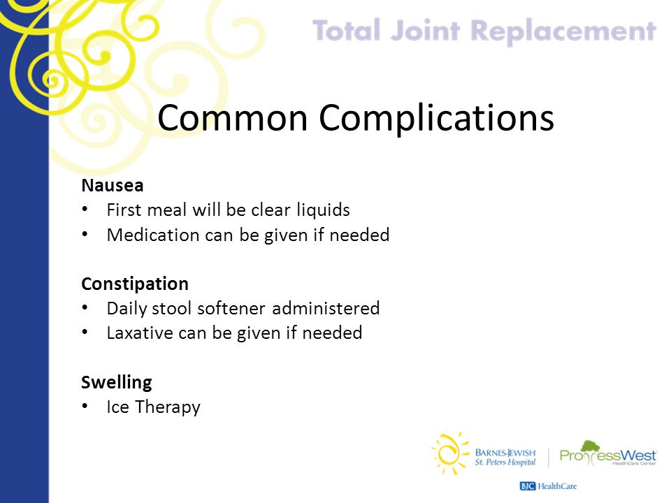 Common Complications Nausea First meal will be clear liquids