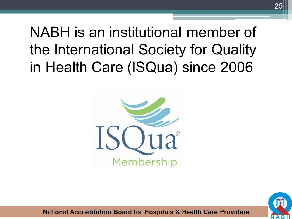 NABH is an institutional member of the International Society for Quality in Health Care (ISQua) since 2006