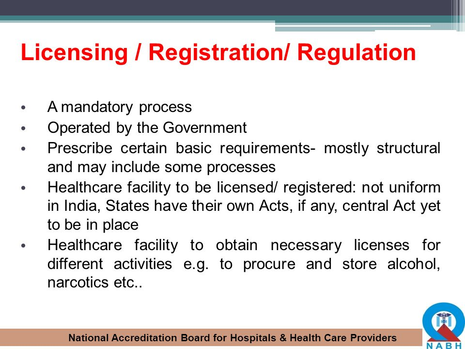 Licensing / Registration/ Regulation