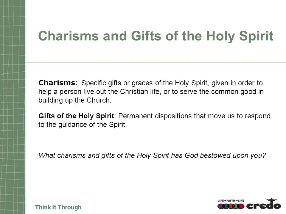 Charisms and Gifts of the Holy Spirit