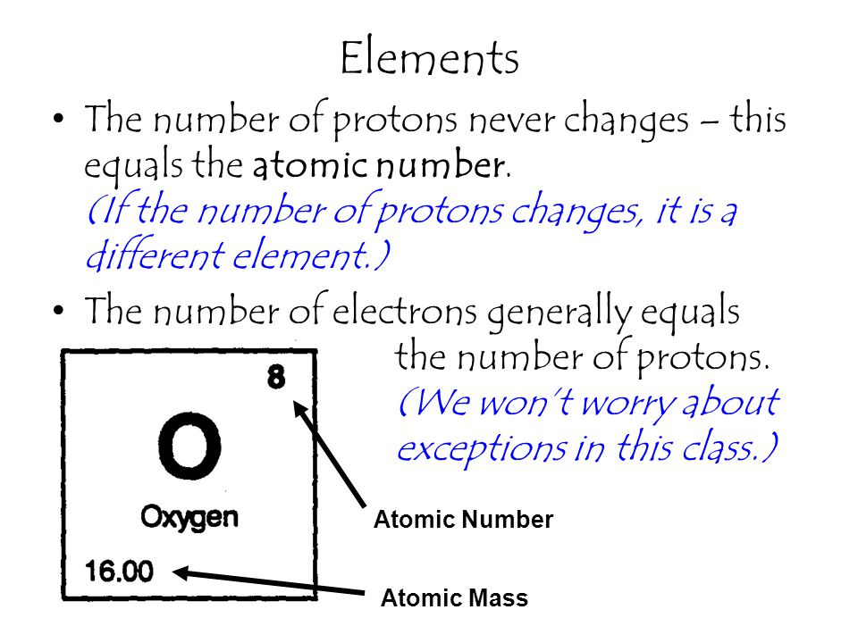 Elements The number of protons never changes – this equals the atomic number. (If the number of protons changes, it is a different element.)