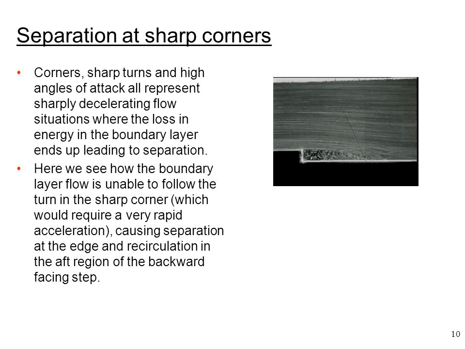 Separation at sharp corners