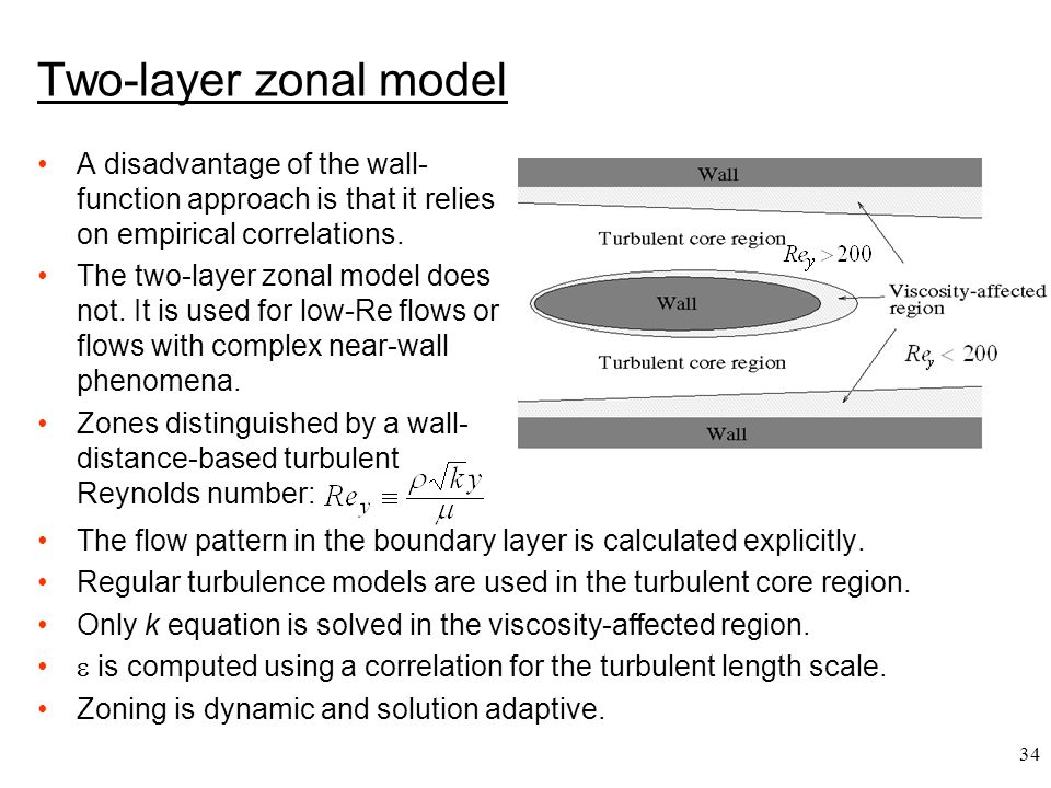 Two-layer zonal model A disadvantage of the wall-function approach is that it relies on empirical correlations.