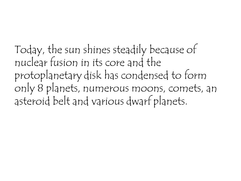 Today, the sun shines steadily because of nuclear fusion in its core and the protoplanetary disk has condensed to form only 8 planets, numerous moons, comets, an asteroid belt and various dwarf planets.