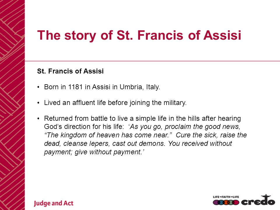 The story of St. Francis of Assisi