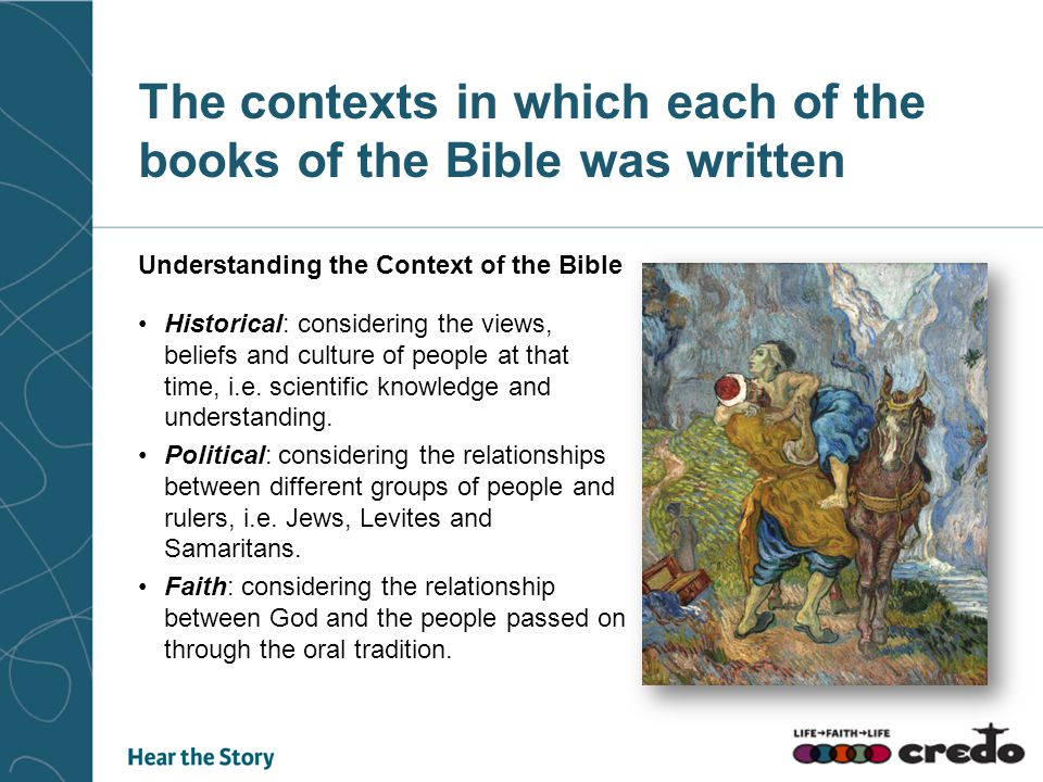 The contexts in which each of the books of the Bible was written