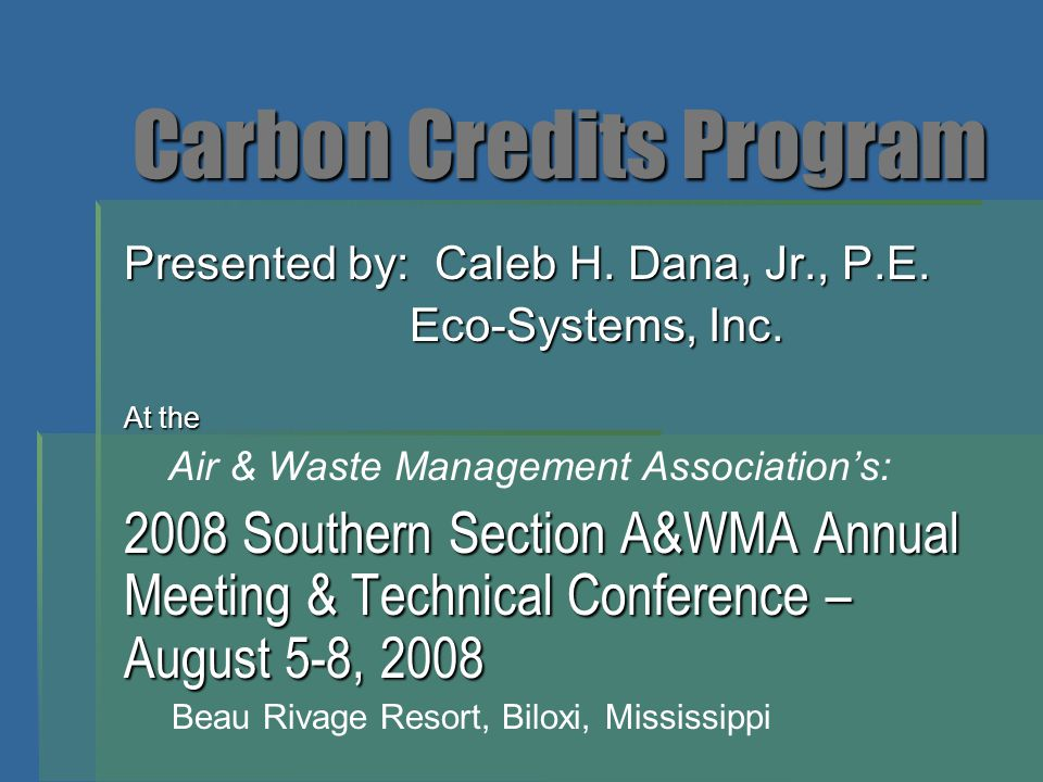 Carbon Credits Program