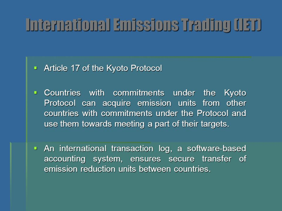 International Emissions Trading (IET)