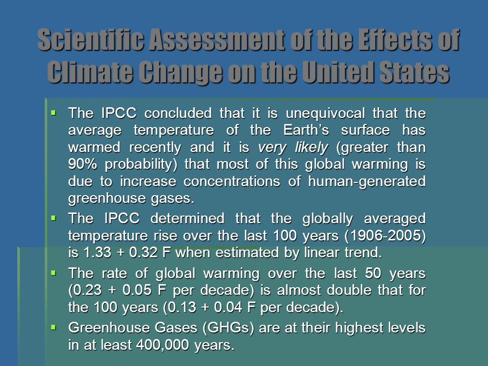 Scientific Assessment of the Effects of Climate Change on the United States