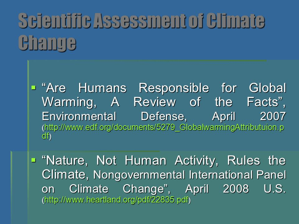 Scientific Assessment of Climate Change