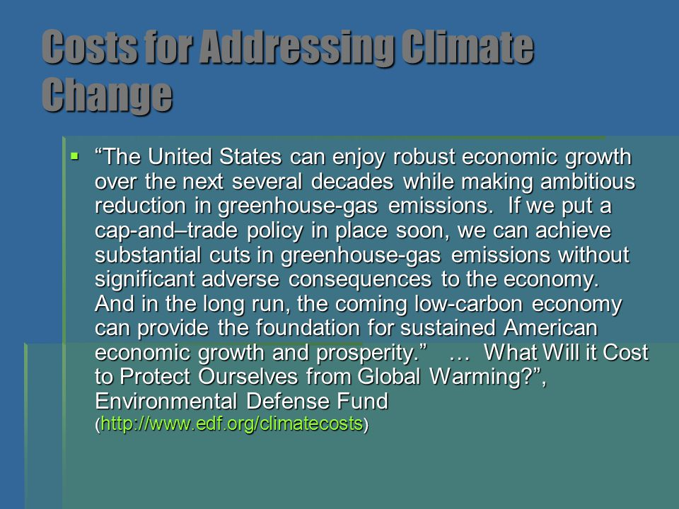 Costs for Addressing Climate Change