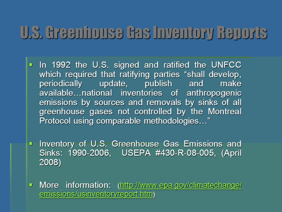 U.S. Greenhouse Gas Inventory Reports