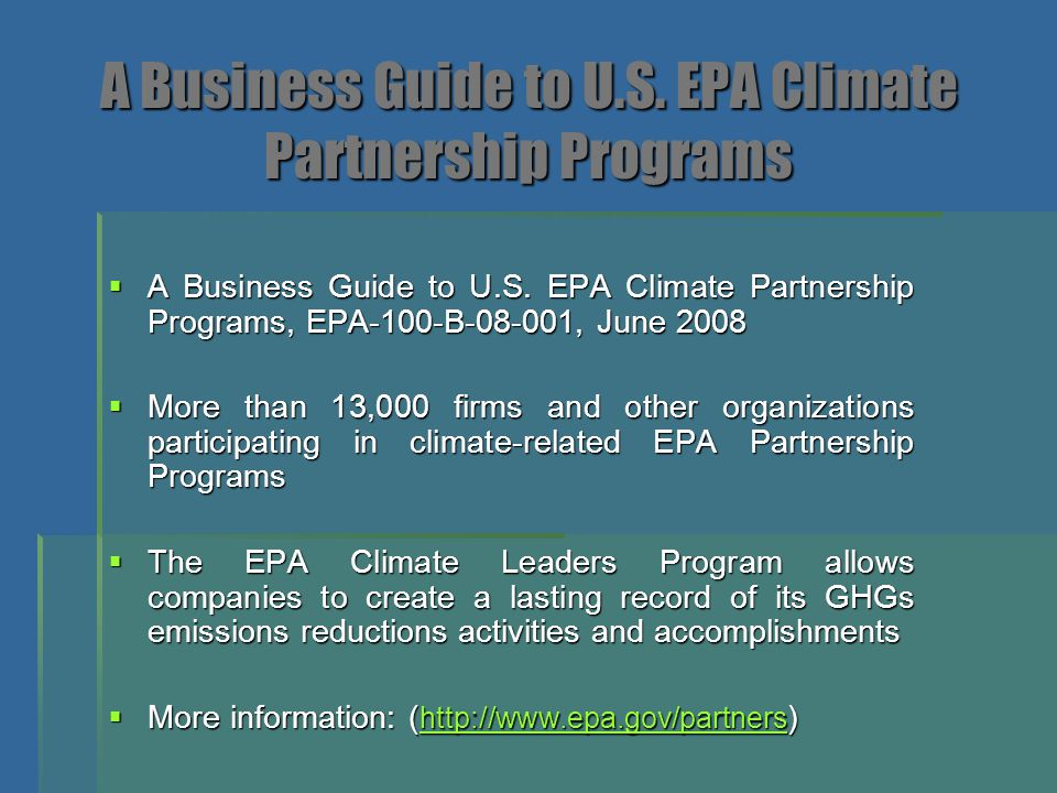 A Business Guide to U.S. EPA Climate Partnership Programs