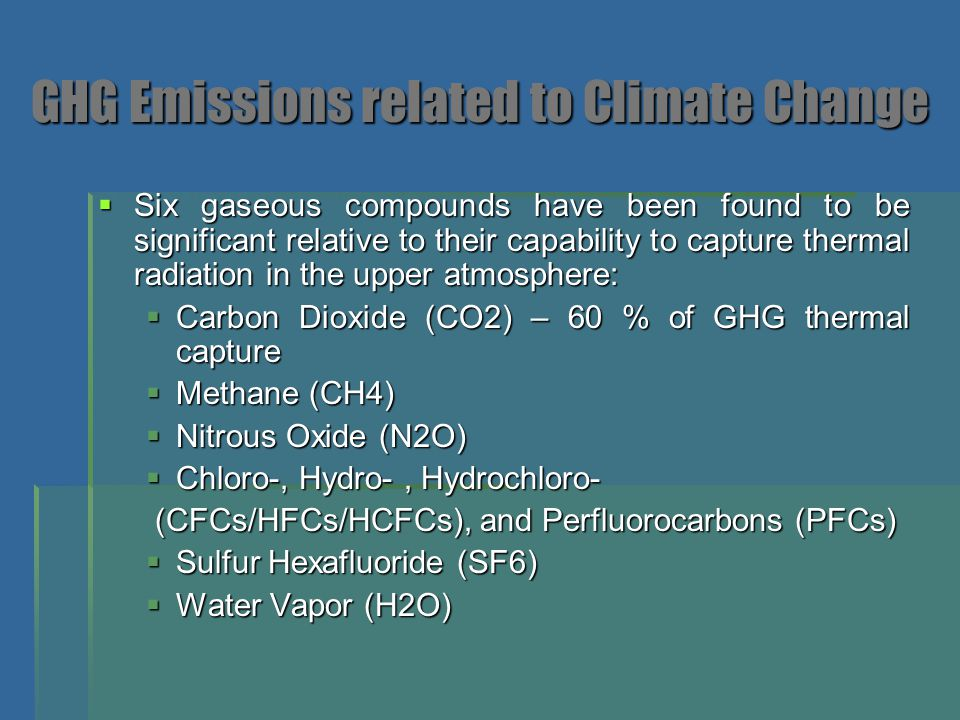 GHG Emissions related to Climate Change