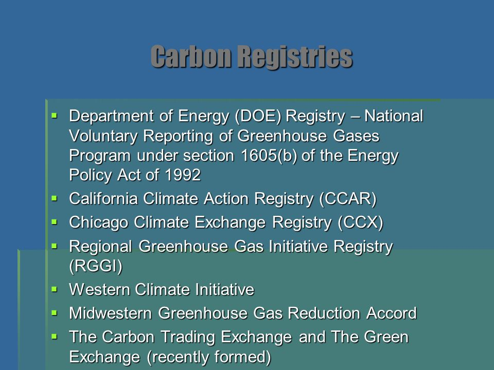 Carbon Registries
