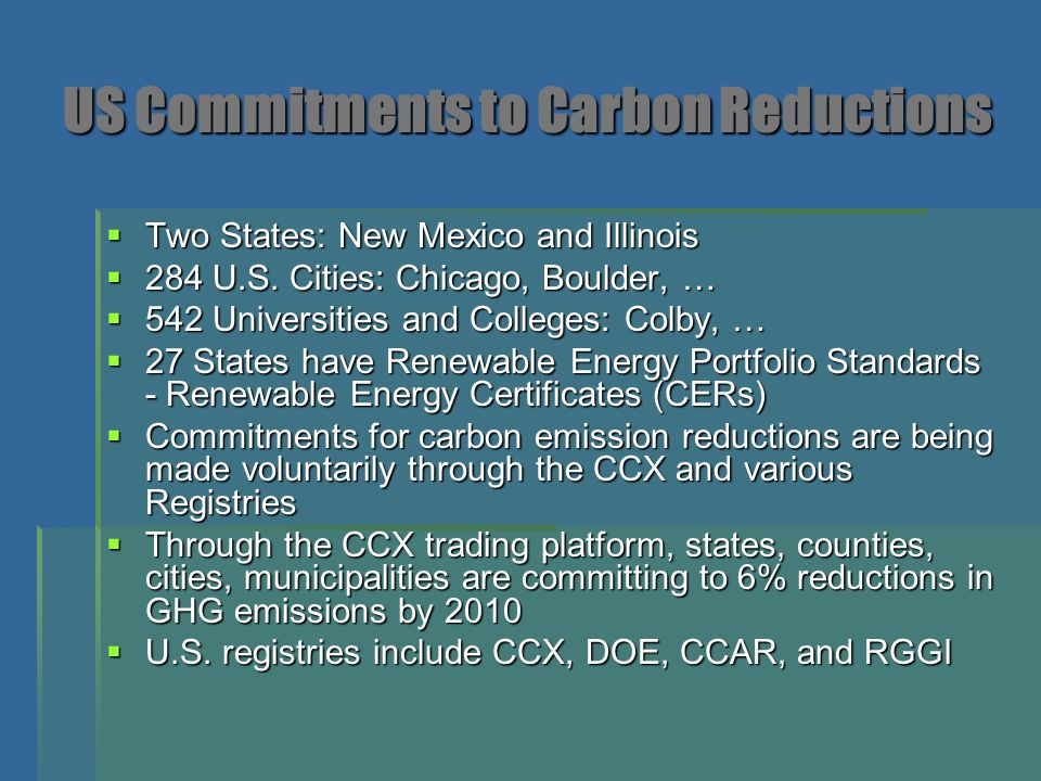 US Commitments to Carbon Reductions