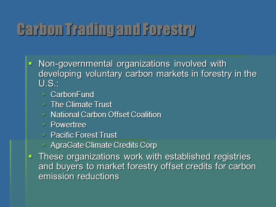 Carbon Trading and Forestry