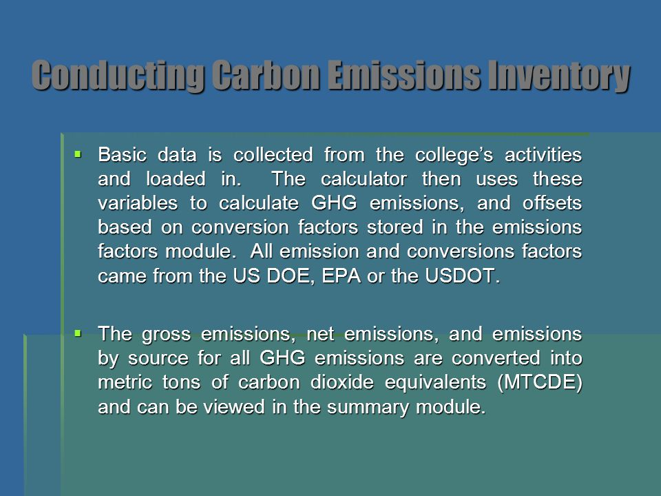 Conducting Carbon Emissions Inventory