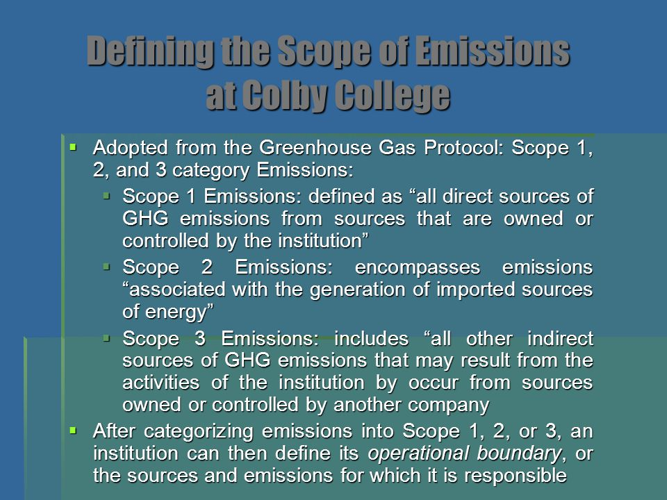 Defining the Scope of Emissions at Colby College