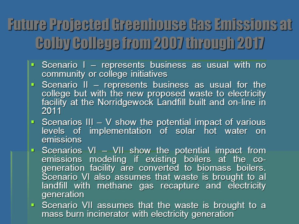 Future Projected Greenhouse Gas Emissions at Colby College from 2007 through 2017