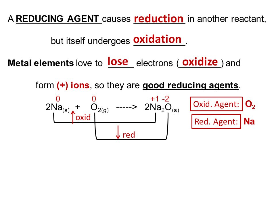 reduction oxidation lose oxidize 0 0 +1 -2
