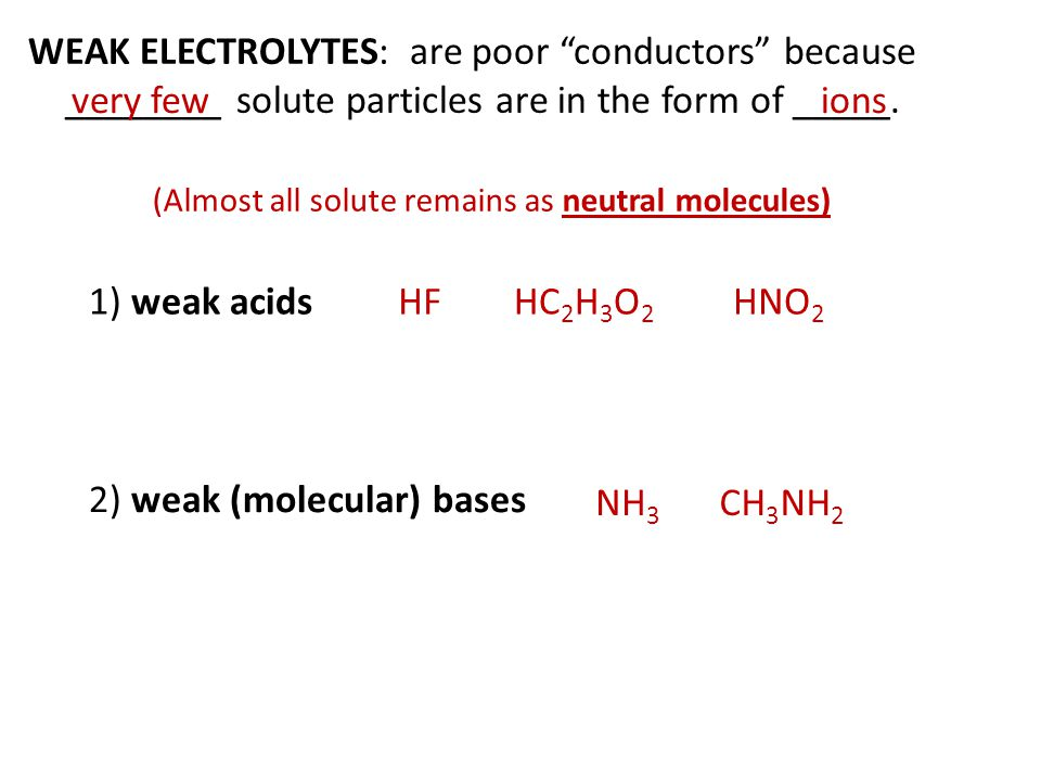 WEAK ELECTROLYTES: are poor conductors because