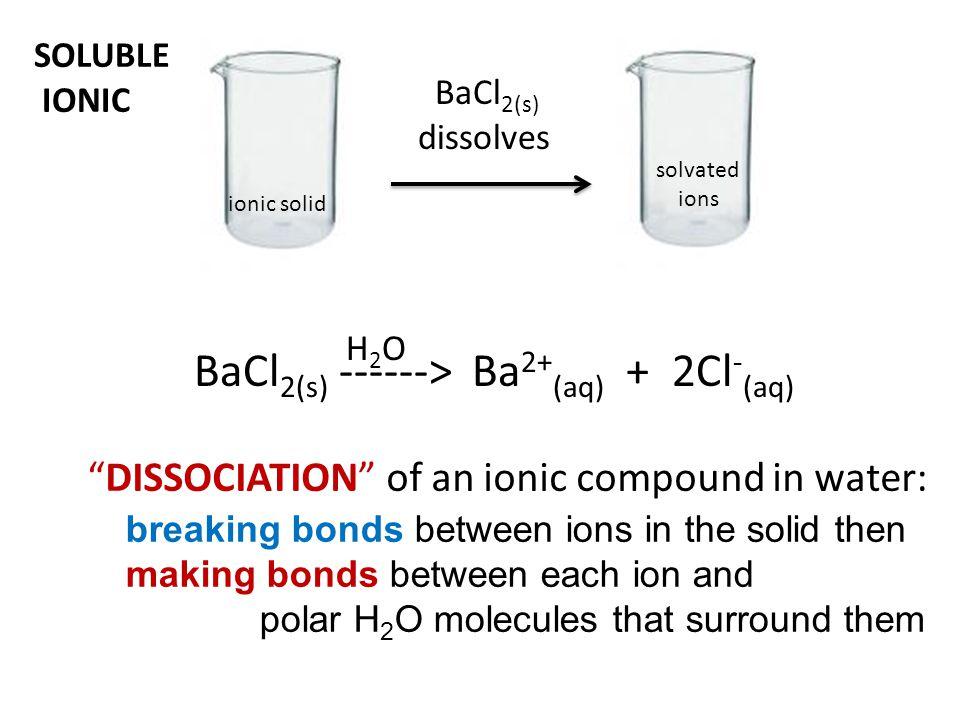BaCl2(s) ------> Ba2+(aq) + 2Cl-(aq)