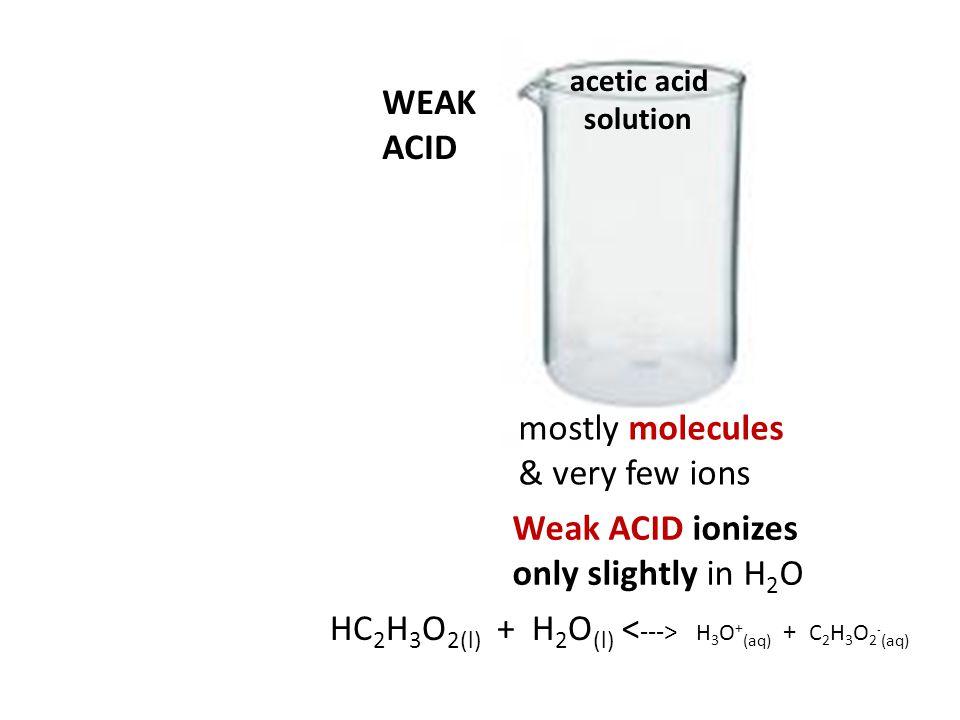 HC2H3O2(l) + H2O(l) <---> H3O+(aq) + C2H3O2-(aq)