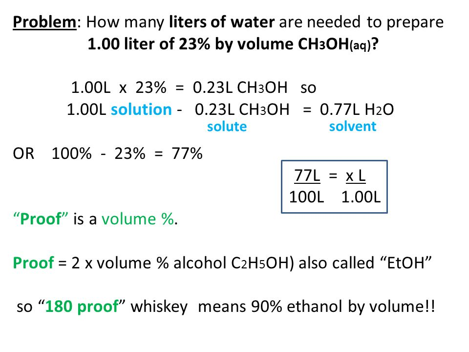 Problem: How many liters of water are needed to prepare