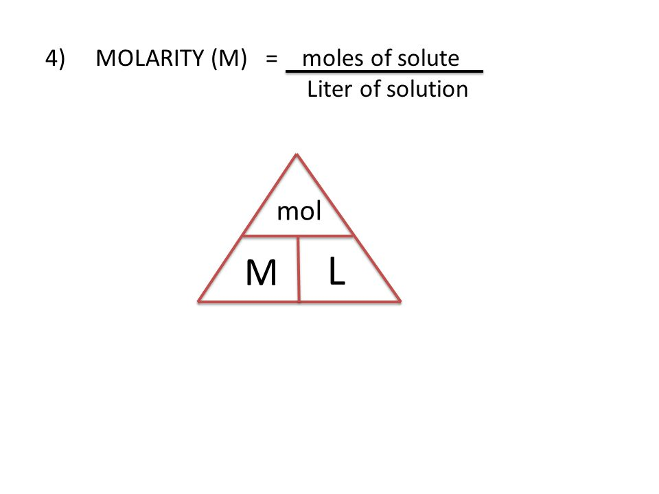 4) MOLARITY (M) = moles of solute